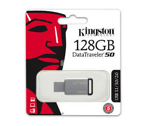 Kingston Data Traveler DT50 USB 3.0 Flash Drive  - 128GB (Metal/Black)