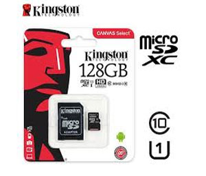 Kingston Canvas Go Micro SD SDHC Memory Card 90MB/s UHS-1 V30 Class 10 with SD Adapter - 128GB