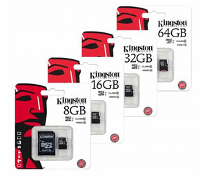 Kingston Micro SD Micro SDHC Memory Card Class 4 with Full Size SD Card Adapter - 32GB