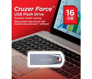 SanDisk 16GB Cruzer Force Flash Drive - USB 2.0