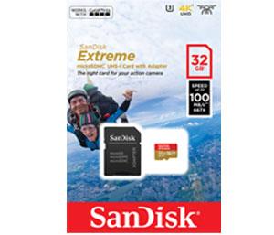 SanDisk Extreme 32GB microSDhC - 100 MB/s, Class 10, U3, V30