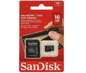SanDisk 16GB Mobile MicroSDHC Class 4 Flash With Adapter